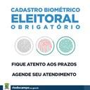 Cadastramento biométrico para Rio do Campo é obrigatório e vai até 28 de junho de 2019.