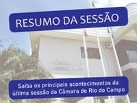RESUMO DA VIGÉSIMA SÉTIMA SESSÃO ORDINÁRIA, REALIZADA NO DIA 30 DE AGOSTO DE 2021.